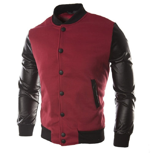 Male Leather Patchwork Hoodies Button Basic Jacket