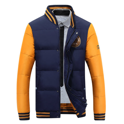 Color-blocked Stand Collar Warm Men's Parka Jacket