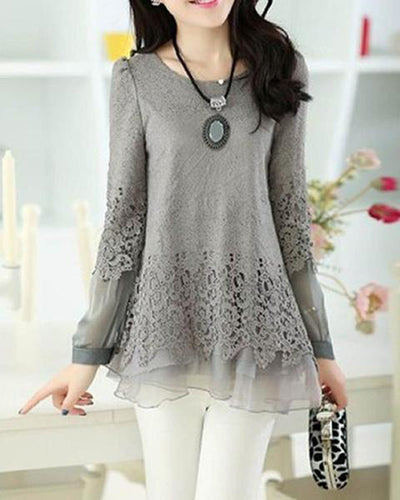 Hot Fashion Women Openwork Neck Chiffon Shirt