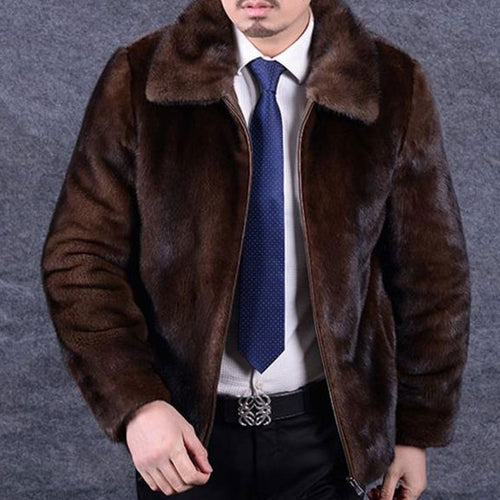 Fur Collar Imitation Mink Hair Men's Coat