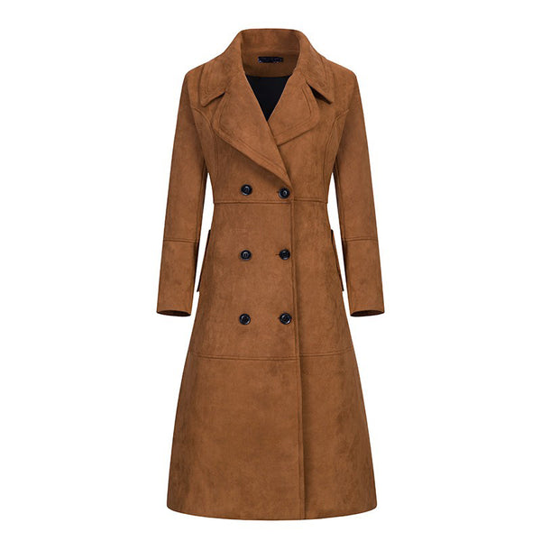 New Fashion Autumn Winter Suede Women Trench Coat