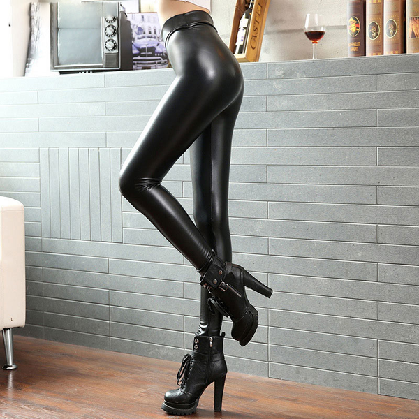 Women PU Leather  High Elastic Waist Leggings