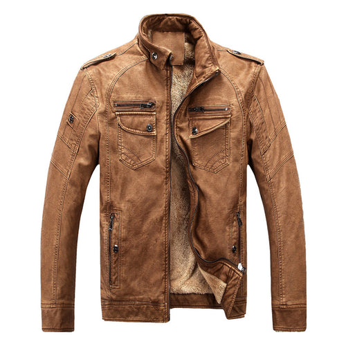 Hot Brand Quality Winter Motorcycle Classic Leather Jacket