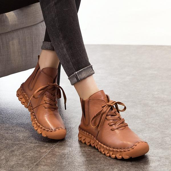 Handmade Full Grain Leather Lace-up Women Flat Boots