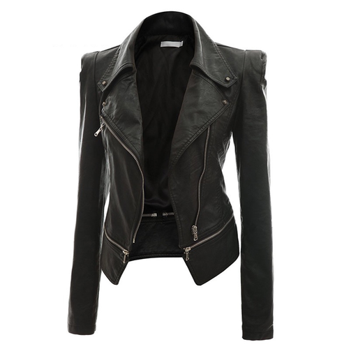 Fashion PU Leather Short Slim Zipper Gothic Jacket