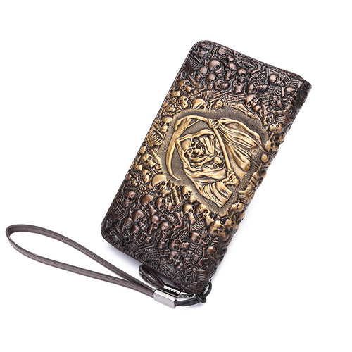 Men Genuine Leather Vintage Style Multifunction Skull Long wallet