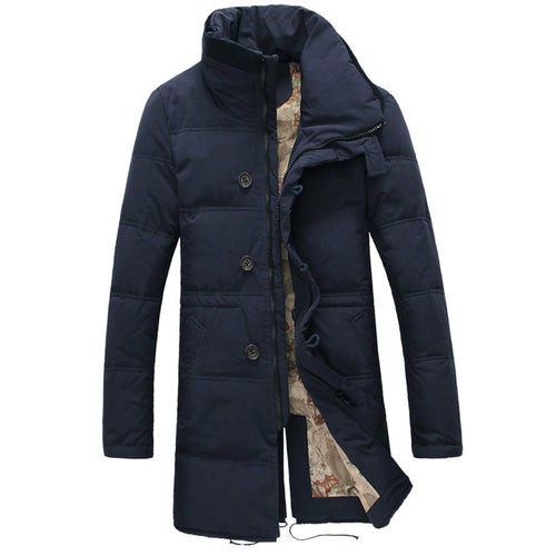 Big Size Men White Duck Down Long Jacket