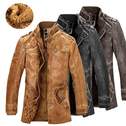 New High Quality Men Leather Warm Jacket