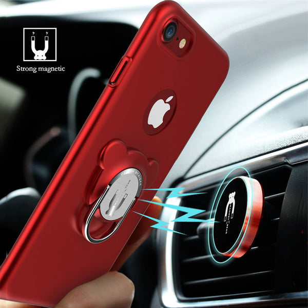 Shockproof Armor Case For iPhone With Magnetic Finger Ring Holder