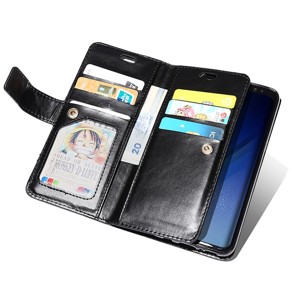 Book Leather Wallet Zipper Card Holder Case For Samsung
