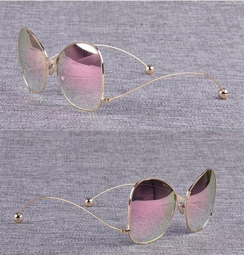 New Style Oversize Rose Pink Mirror Round Sunglasses