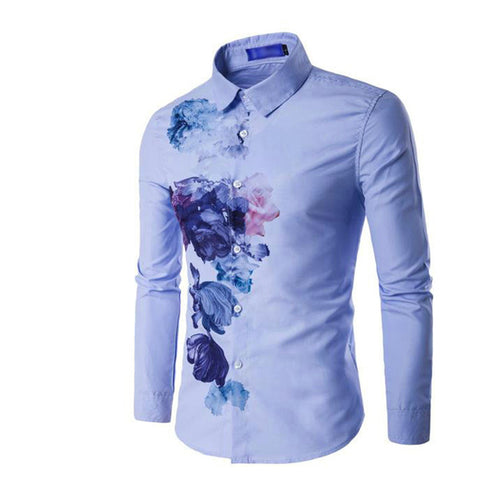 Match Youth Printing Long Sleeve Casual Men's Shirt