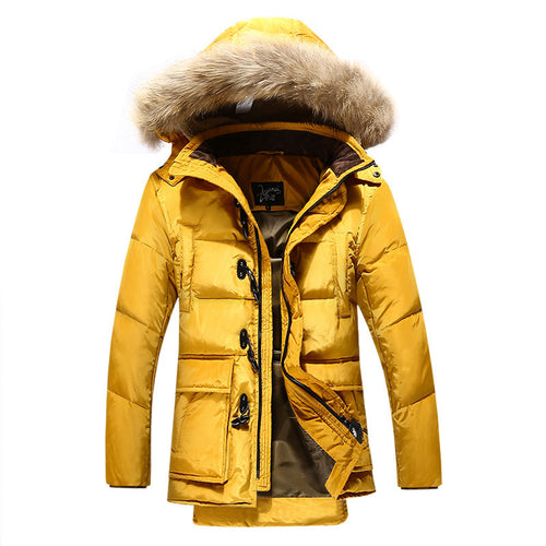 Single-Breasted Fur Collar Solid Color Cotton Men's Down Coat