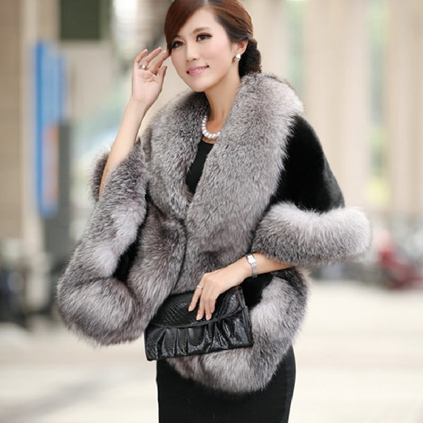 Soft Fur Patchwork Women's Coat - One Size Fits All