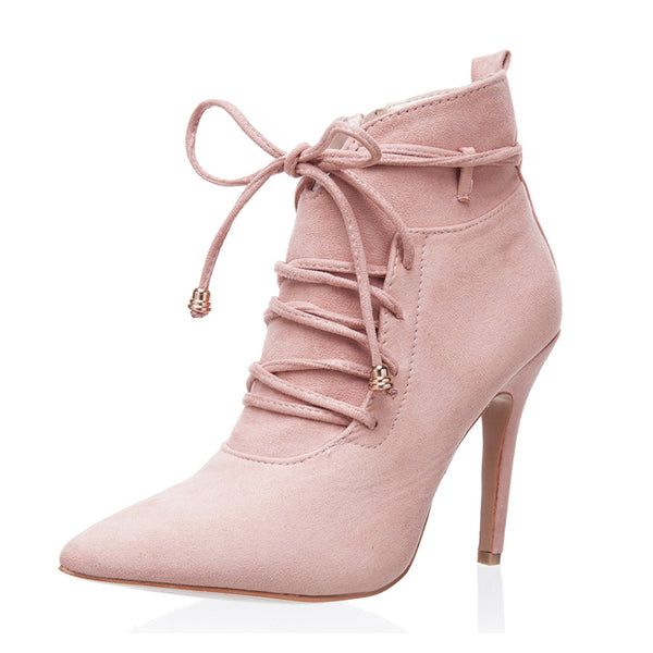 Women Suede leather Zip Flock Thick High Heels Shoes