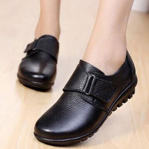 Fashion Leather Buckle Slip On Women's Flat Shoes