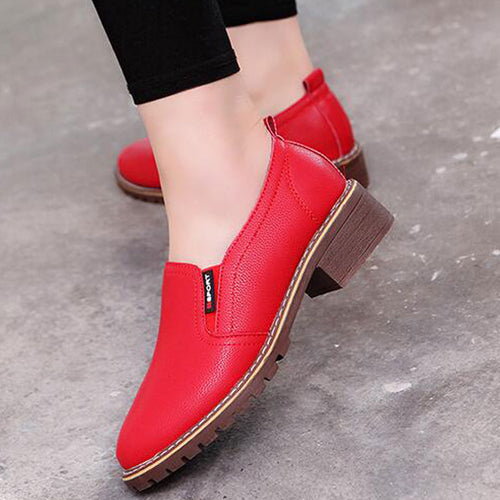 Woman Leather Brogue Round Toe Oxford Shoes