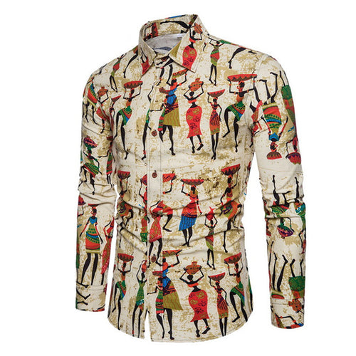 Printed Clothing Casual Plus Size Men's Shirt