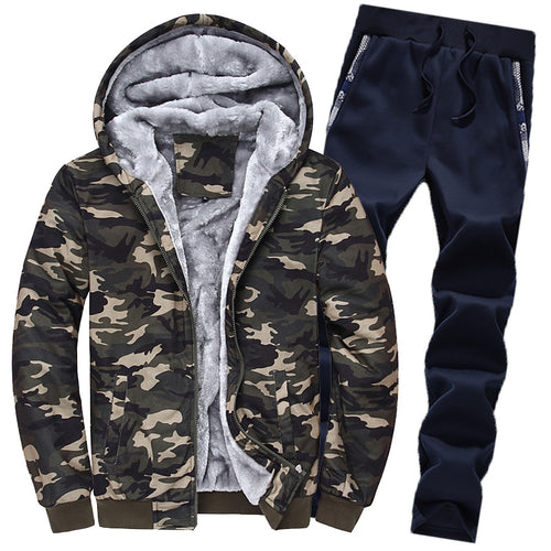 Vintage Hooded Outdoor Camouflage Men's Sports Suit