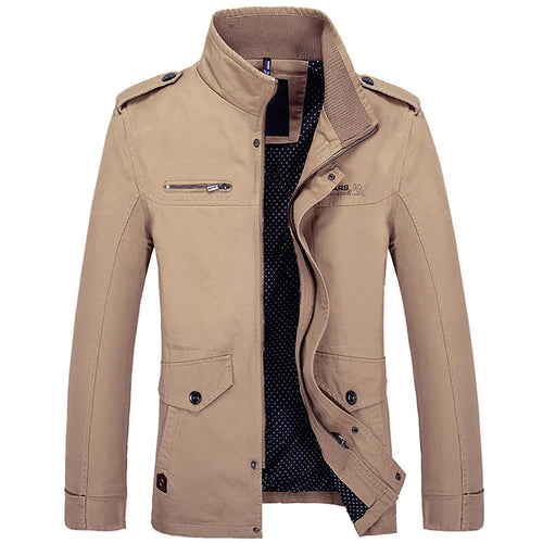 Stand Collar Cotton Casual Solid Color Men's Jackets Coat