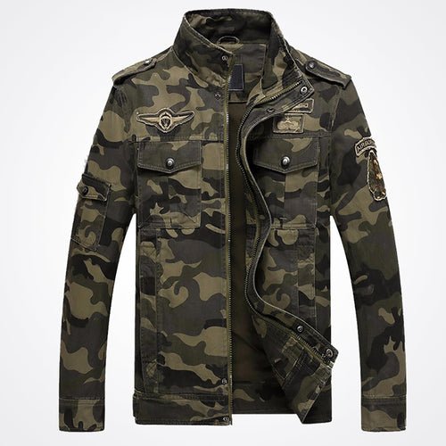 Men Plus Size High Quality Military Windproof Camouflage Jacket