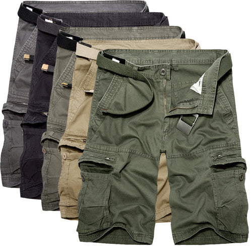 Men Summer Army Green Cotton Loose Multi-Pocket Pants
