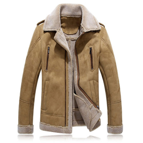 Zippered Plus Size Warm Solid Color Turn-down Collar Men's Jackets Coat