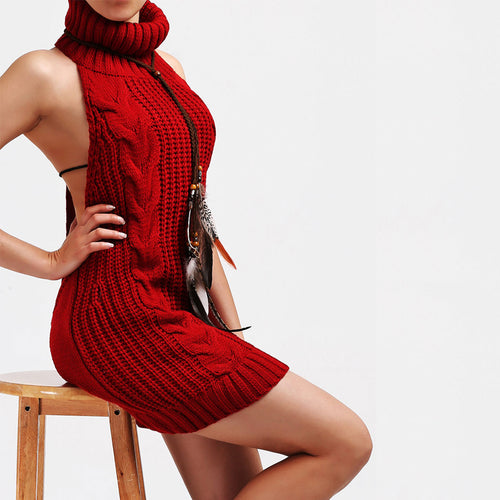 Women Sexy Multicolor Turtleneck Backless Long Knitted Sweater