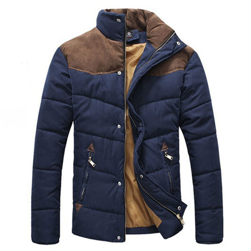 Men Winter Splicing Cotton-Padded Coat