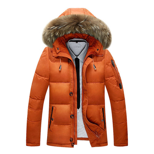 Mens 90% White Duck Down With Fur Thick Down Coat