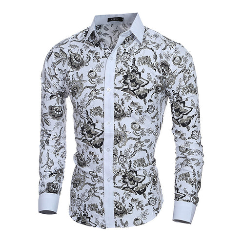 Long Sleeve Turn Down Collar Floral Men's Shirt