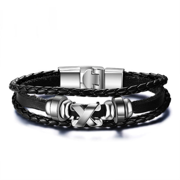 Men leather Stainless Steel Clasp Bracelet