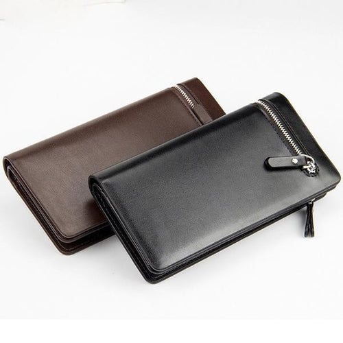 Briefcase Men Long Zipper Leather Brand Card Holder Wallet
