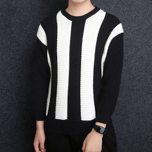 Contrast Color Striped Pullover Round Neck Acrylic Men's Sweater