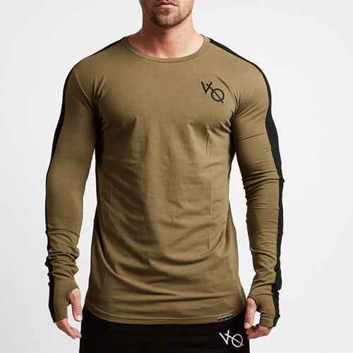 Tight Elastic Fitness Sporting Men's Patchwork T-shirt