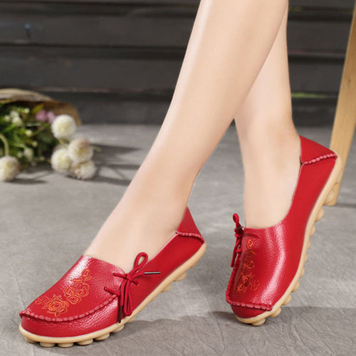Genuine Leather Embroidery Women's Casual Shoes