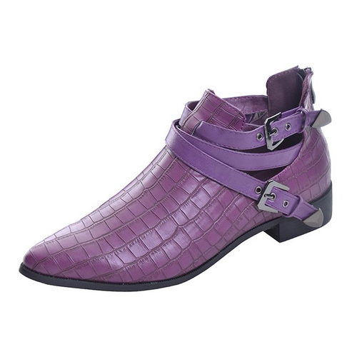 Fashion Leather Women Pointed Toe Crocodile Stripe Boots