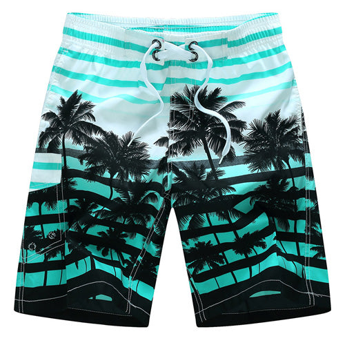 Men Beach Shorts Quick Dry Coconut Tree Printed Elastic Waist 4 Colors