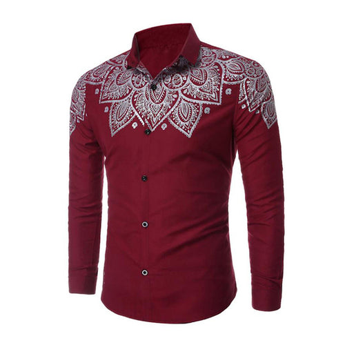 Design Twill Long Sleeve Cotton Printed Men's Shirt