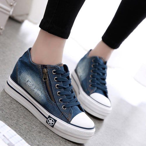 Elevator Heel Round Toe Lace Up Platform Canvas Shoes