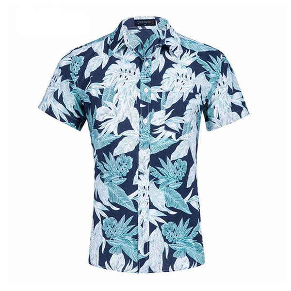 Hawaiian Casual Floral Cotton Sleeve Beach Men's Tee