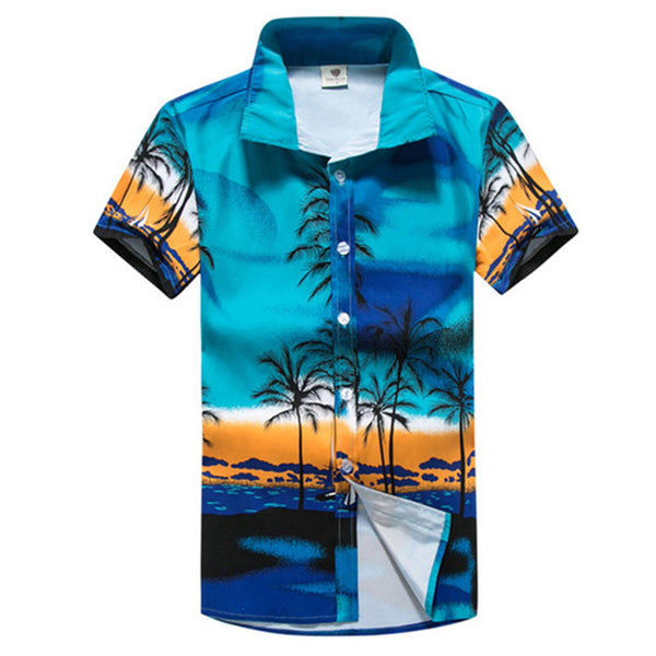 Cotton Floral Brand Sleeve Beach Shirt Men's Tee