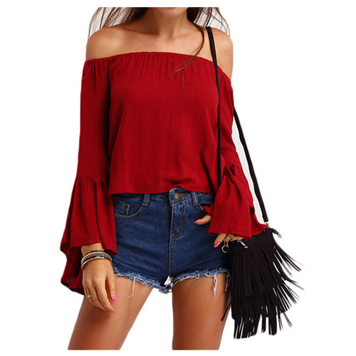 Sexy Off Shoulder Ruffle Blouse