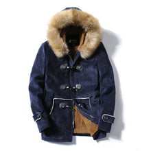 Fur Collar Single-Breasted Cotton Warm Men's Parka Jacket