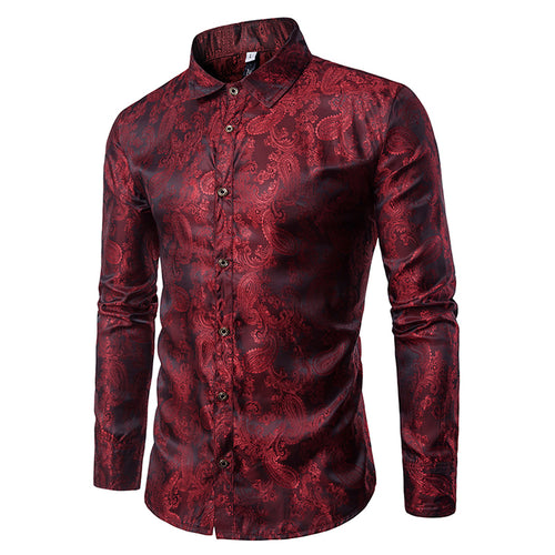 Lace Printing Long Sleeve Casual Slim Men's Shirt