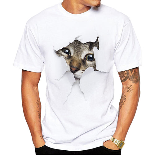3D Cute Cat T-shirts Men Tops Tees