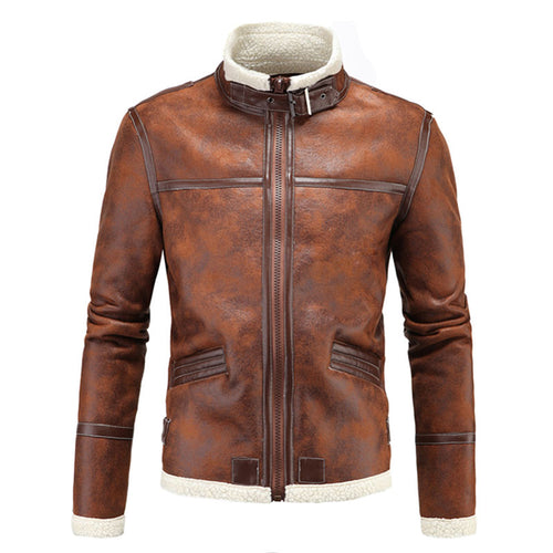 Warm Stand Collar Zippered PU Contrast Color Men's Leather Coat