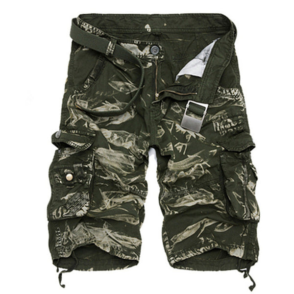 Men Summer Cool Camouflage Cotton Shorts No Belt