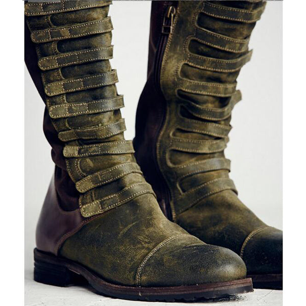 Faux Suede Gladiator Retro Army  Snow Boots