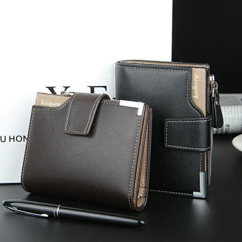 Fashion Short Leather Men Wallets With Soft Zipper